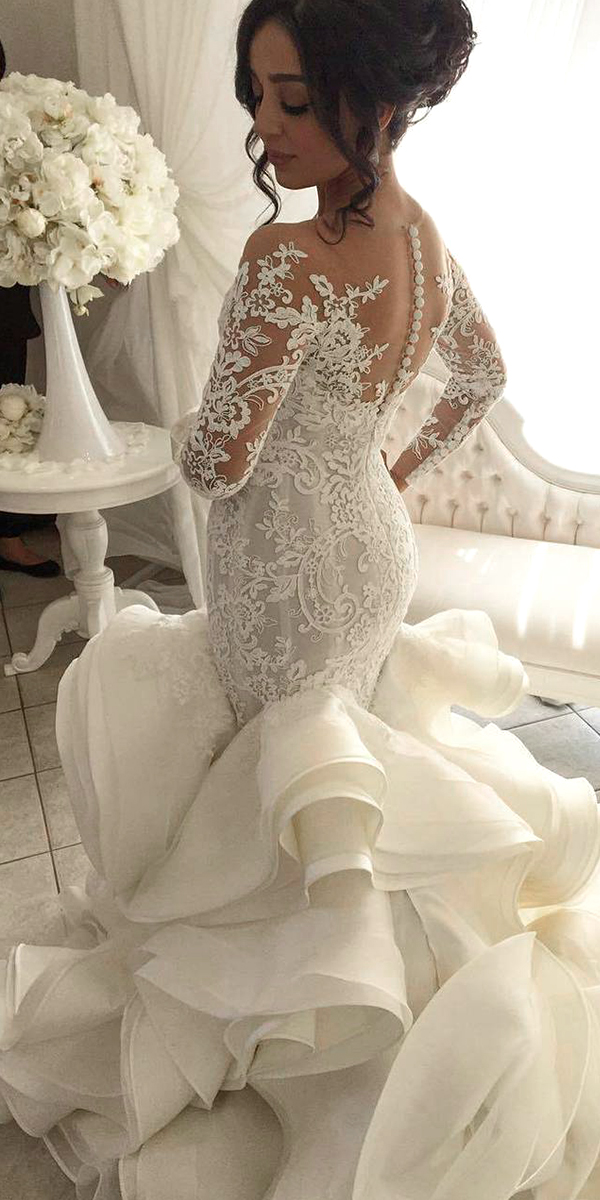 long sleeve organza mermaid wedding dress sexy women's bridal gowns