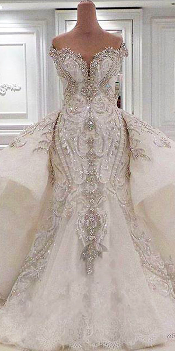 mermaid wedding dress with lace overskirt sexy women's bridal accessories