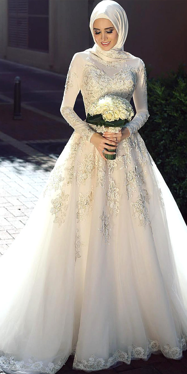 muslim wedding dress with high neck sexy women's bridal gowns