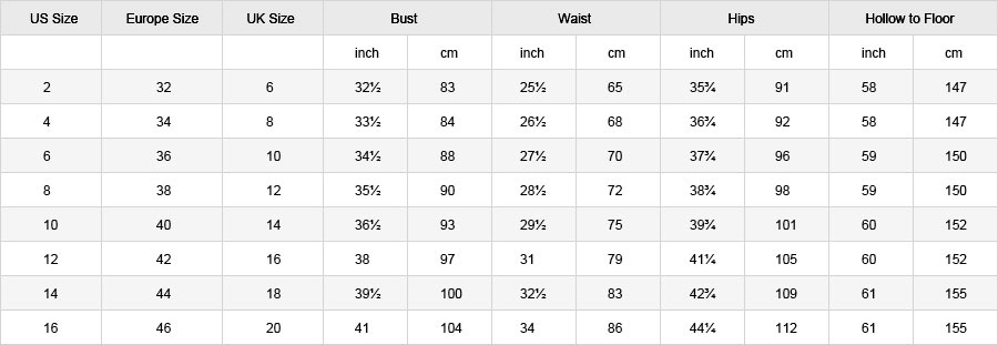 women's bridal gowns size chart