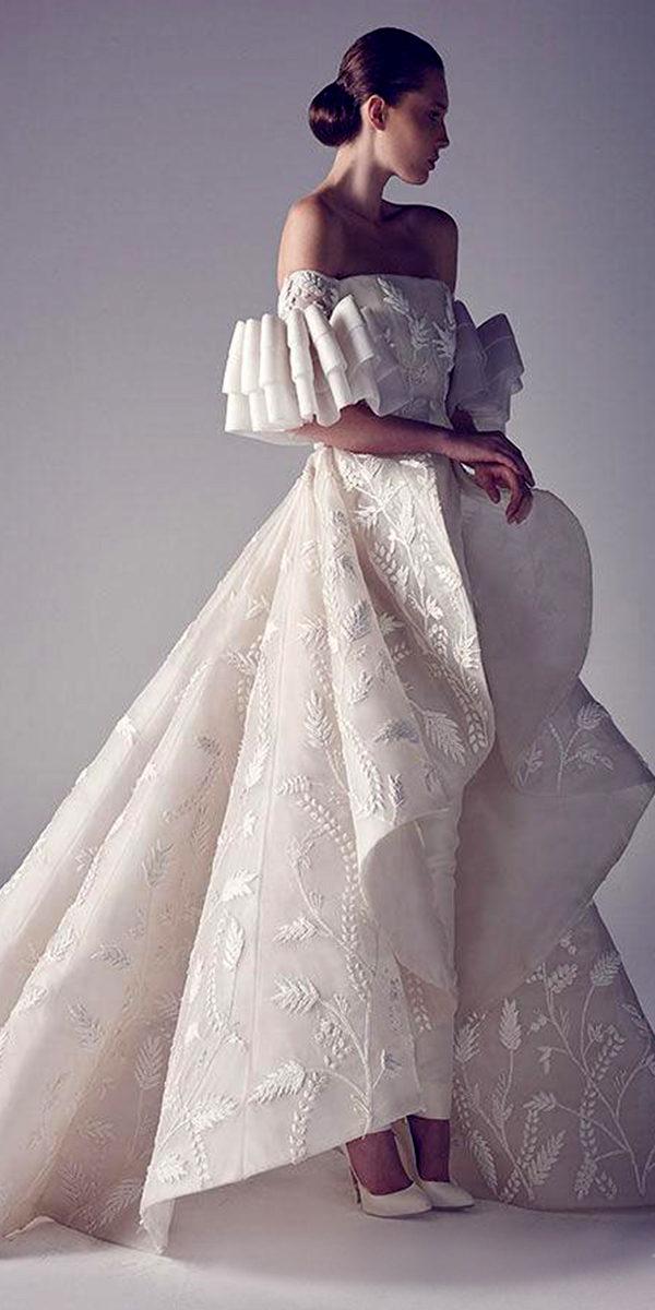 off shoulder wedding dress pantsuit sexy women's bridal gowns
