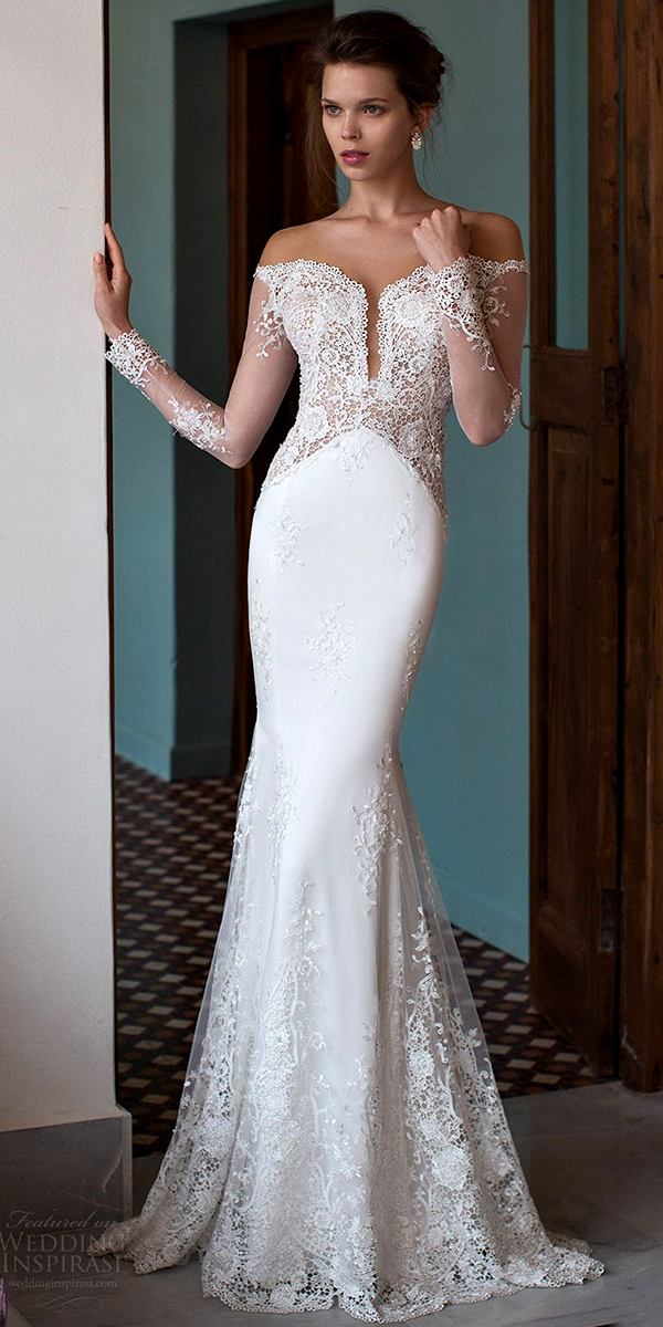 off the shoulder plunging v-neck wedding dress sexy women's bridal gowns