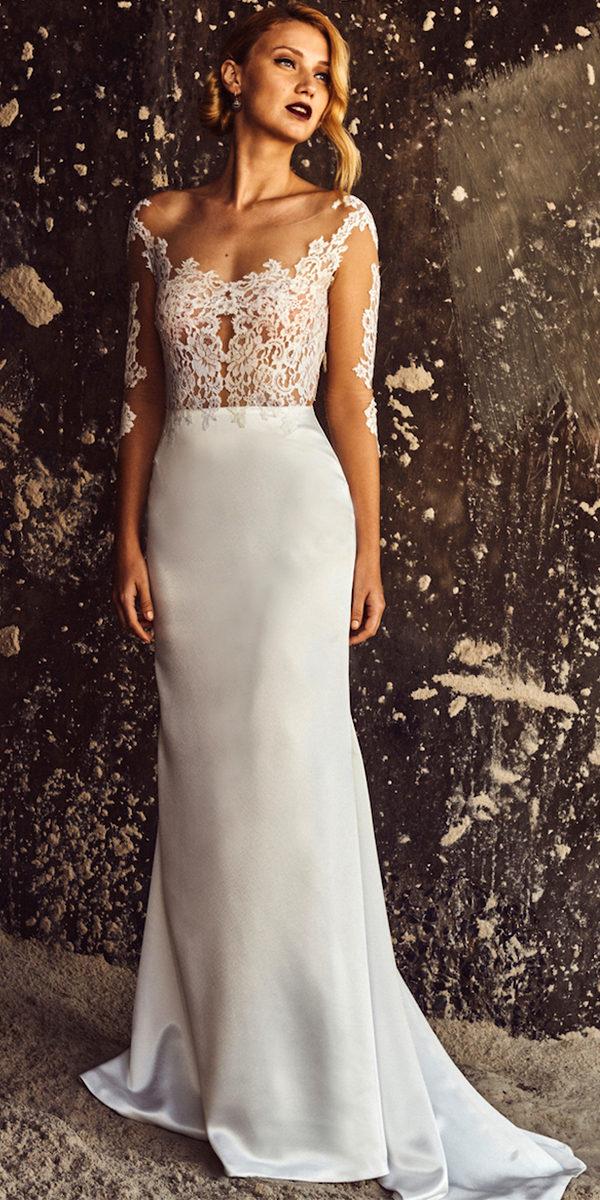 scoop neck sheath backless wedding dress sexy women's bridal gown