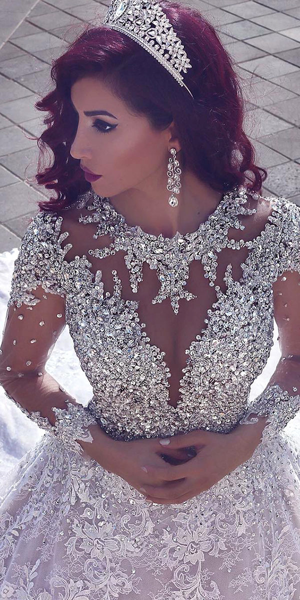 sequined beaded long sleeve wedding dress with long train sexy women's bridal gowns