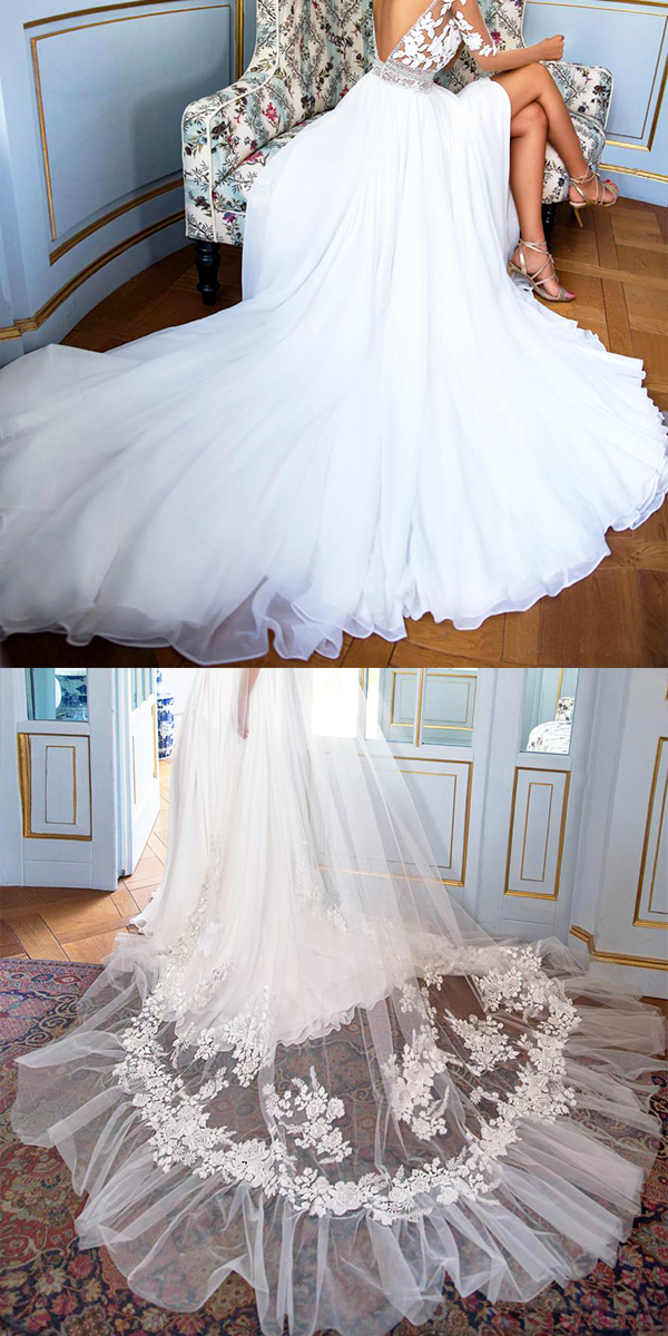 sheer lace wedding dress sexy women's bridal gown