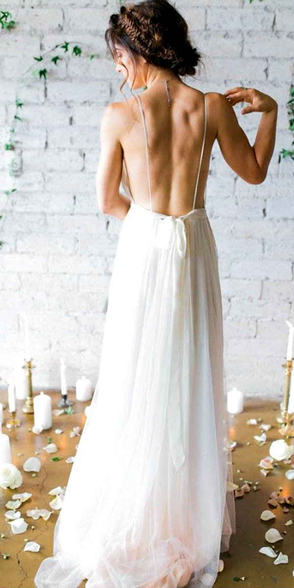 Spaghetti Tulle Backless Wedding Dress