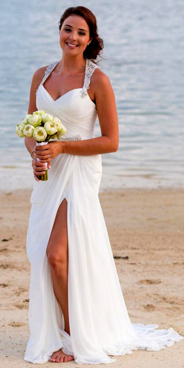 Sweetheart Halter Beaded Crystal Mermaid Wedding Dress Y