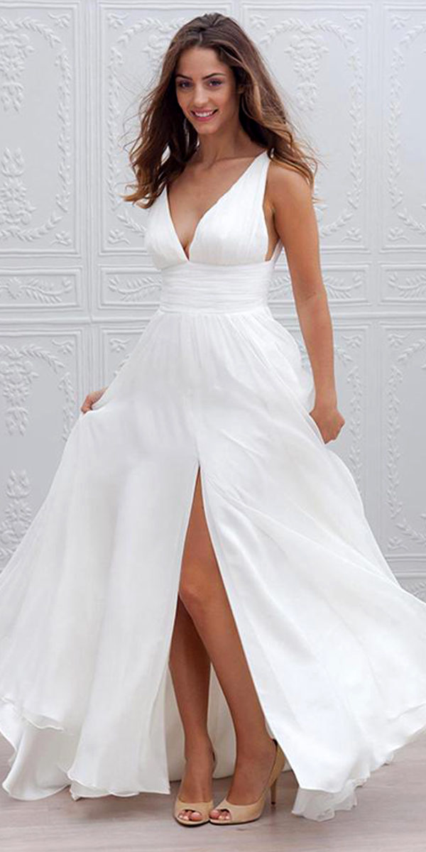 v-neck chiffon a-line wedding dress sexy women's bridal gowns
