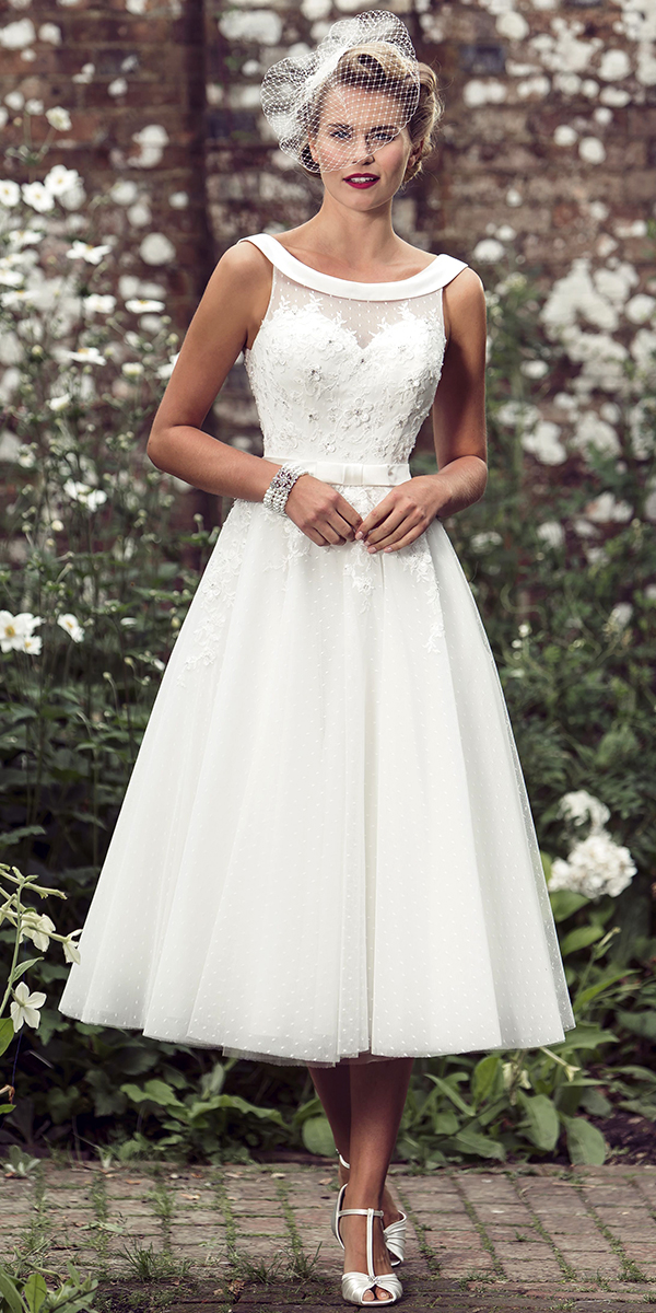 vintage lace tea length sheer wedding dress sexy women's bridal gowns