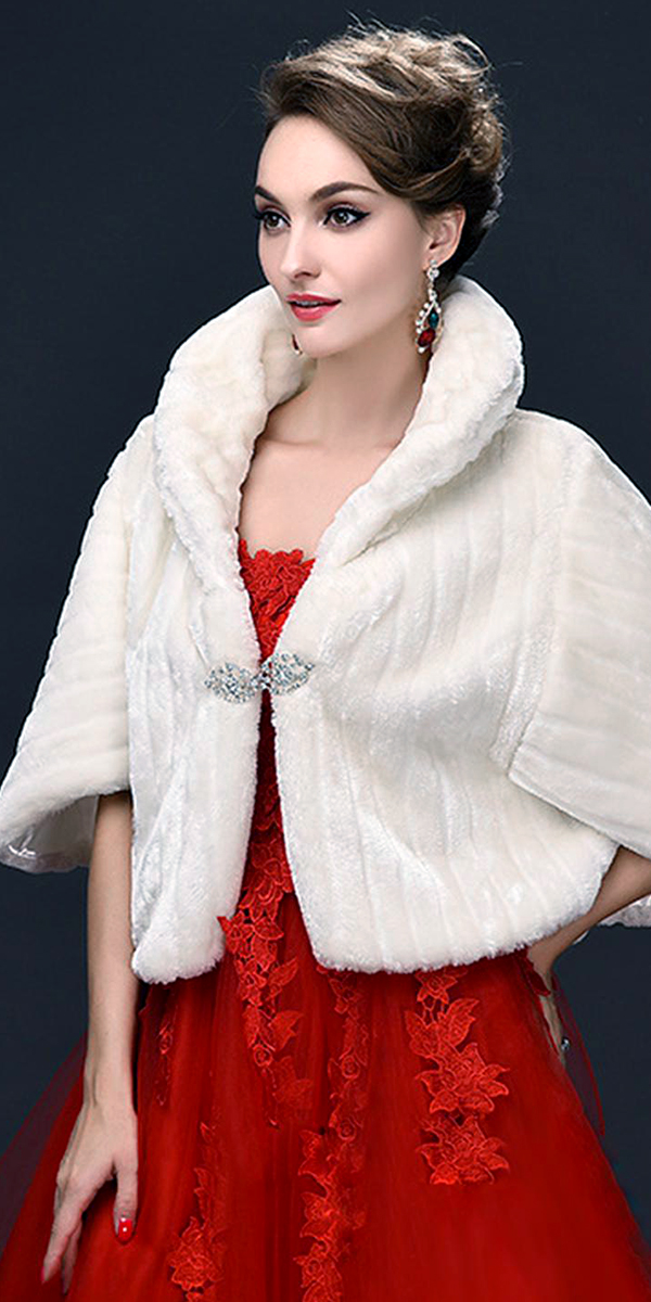 winter wedding coat bridal faux wrap sexy women's accessories