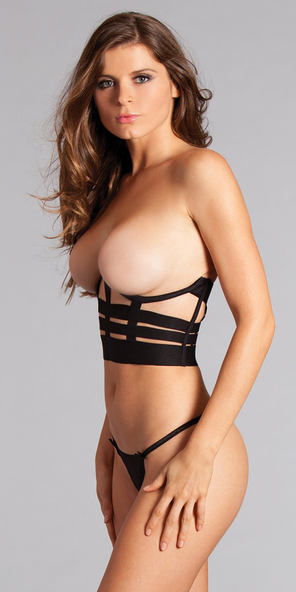 black cupless caged bralette sexy women's lingerie