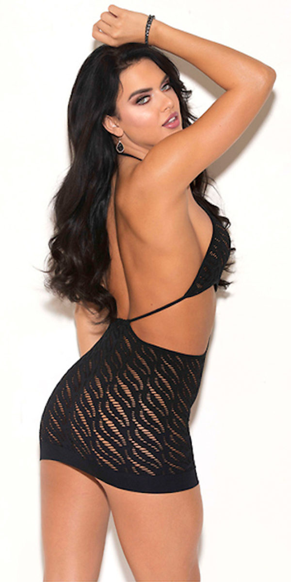 black knit chemise sexy women's lingerie