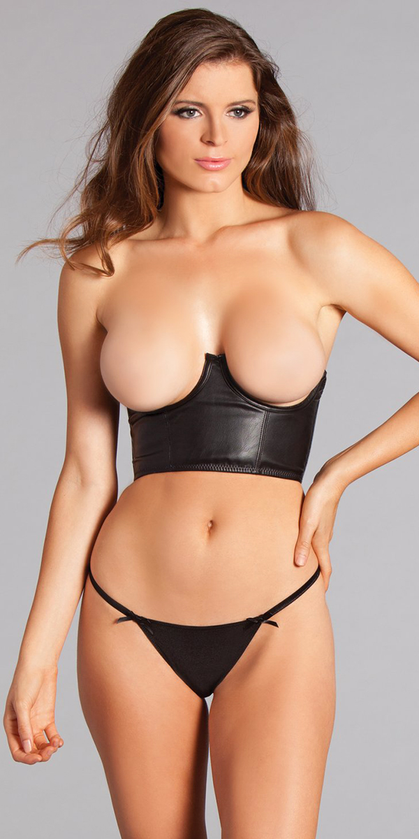 black matte faux-leather bralette sexy women's lingerie bra support