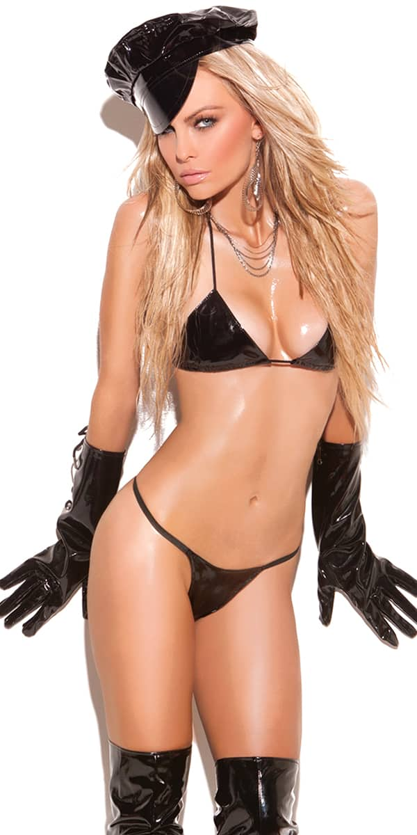 black micro mini vinyl bra set sexy women's clubwear