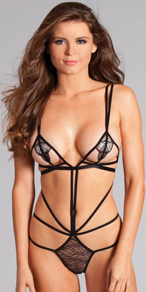 black strappy teddy sexy women's lingerie