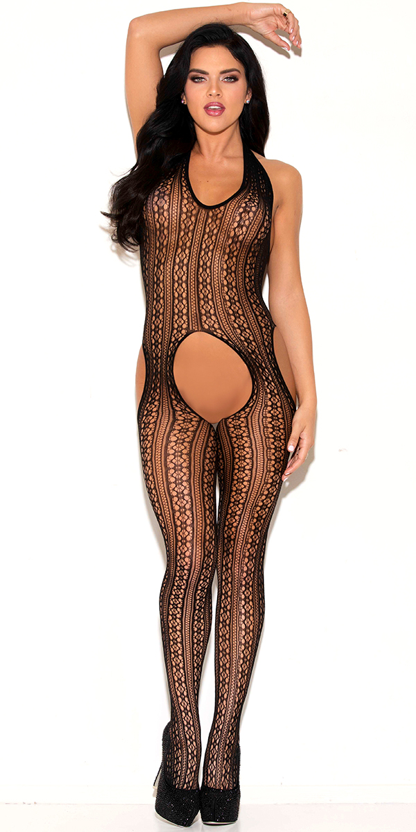 black striped bodystocking with cut-outs sexy women's hosiery