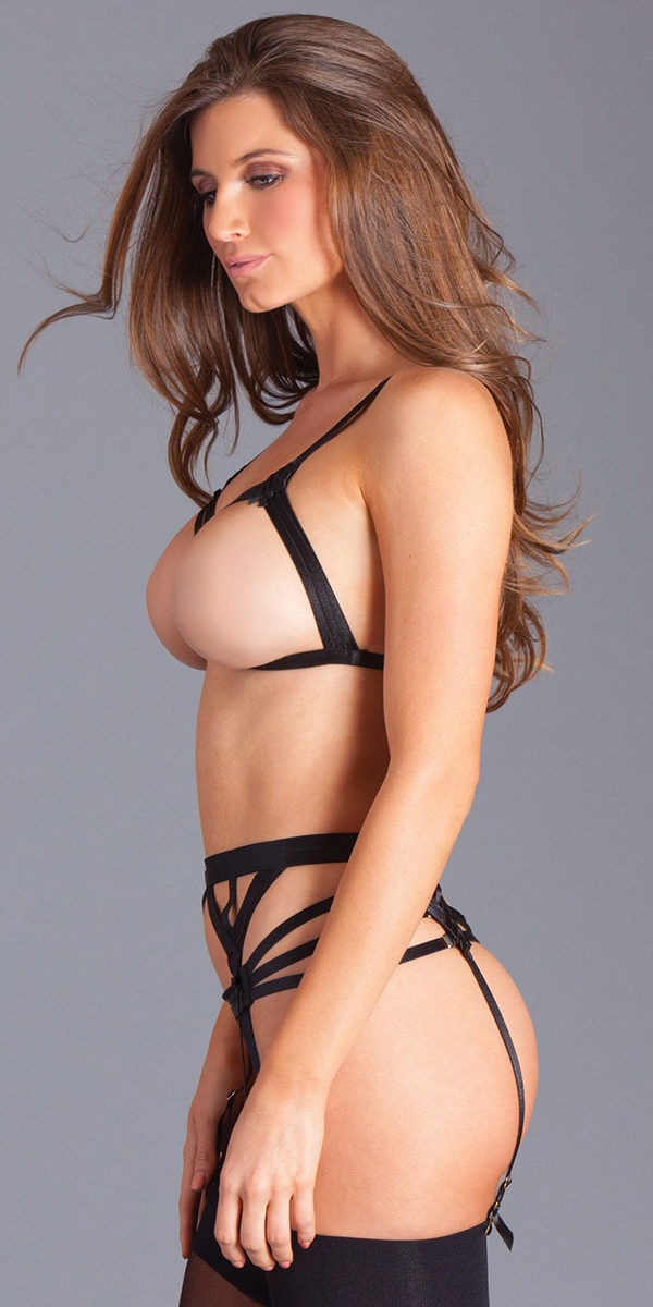 black topless strappy bralette set sexy women's lingerie