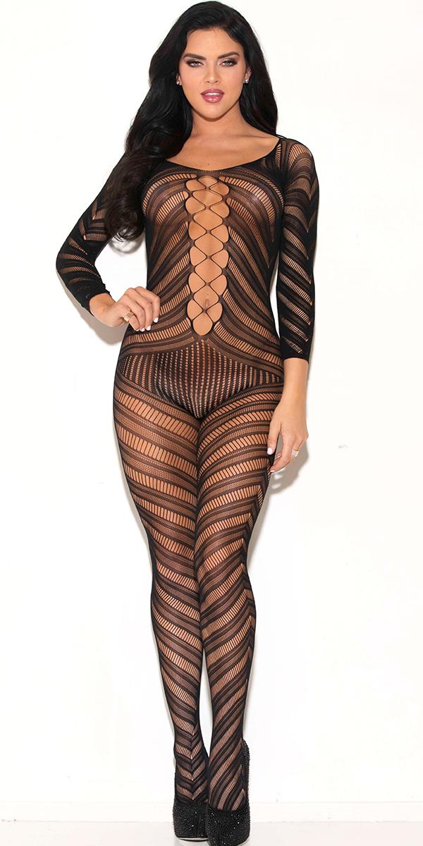 black three-quarter sleeve bodystocking sexy women's hosiery