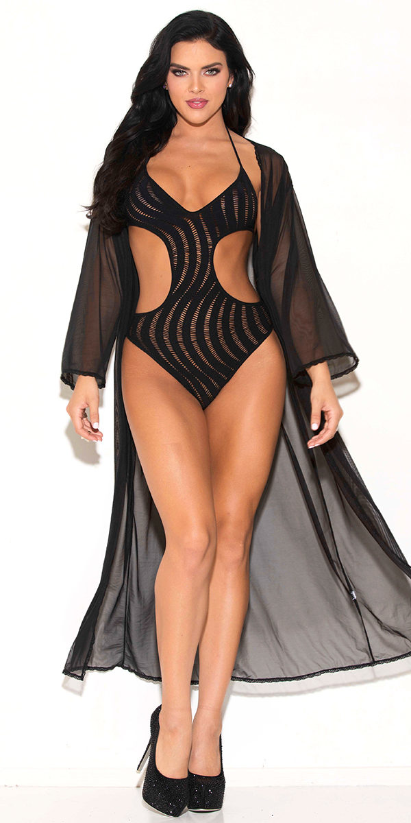 black three-quarter sleeve see-through robe sexy women's loungewear