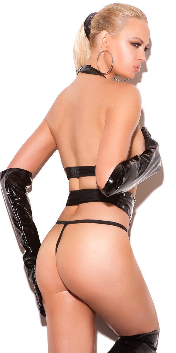 black topless vinyl set with studs sexy women's clubwear