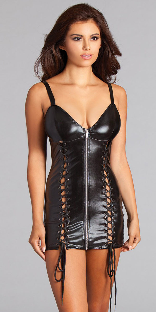 black wet-look dress with zip front sexy women's clothing