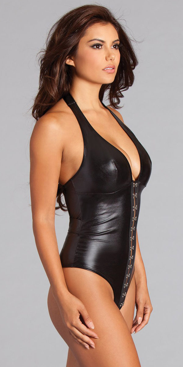 black wet-look teddy with buckle detailing sexy women's lingerie