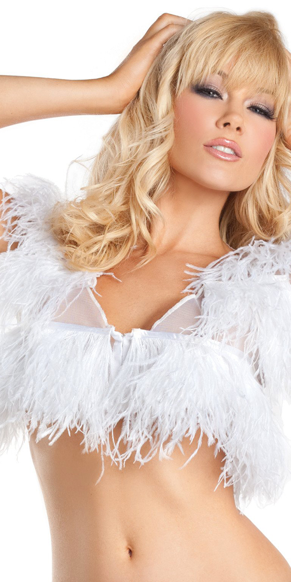 ostrich feather top party costume fun white
