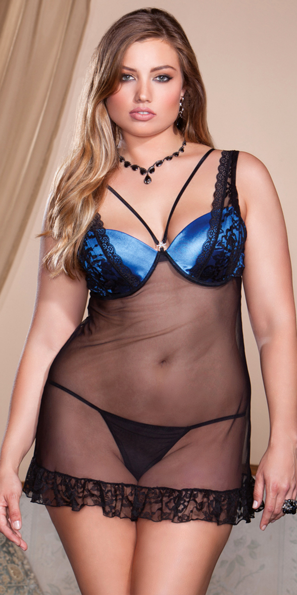 747a4911cfa Plus Size Black and Blue Lace Mesh Babydoll with G-String