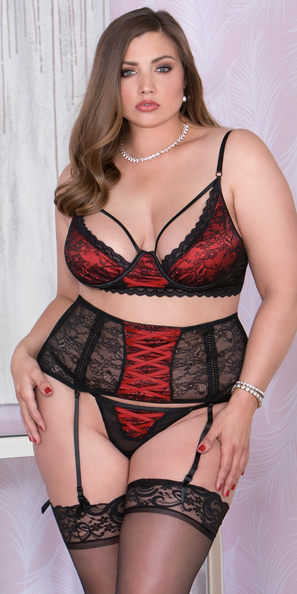 plus size black and ruby bordeaux set sexy women's lingerie