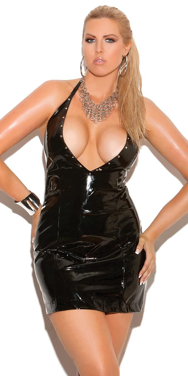 plus size black deep-v vinyl halter dress sexy women's clubwear curvy