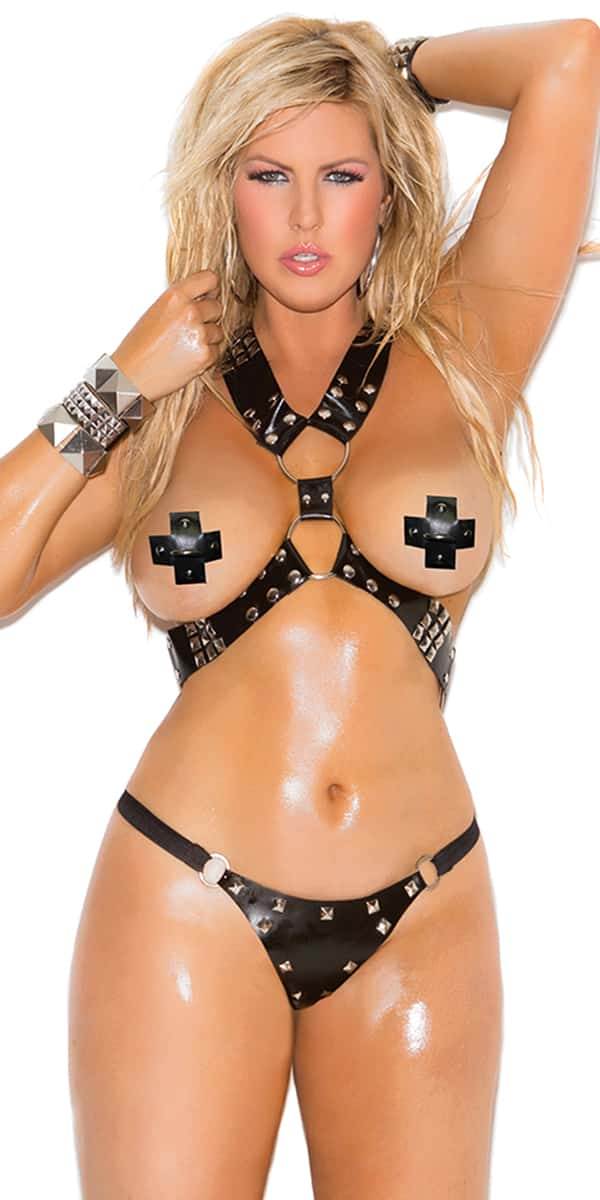plus size black harness and square nail heads set sexy women's intimates curvy