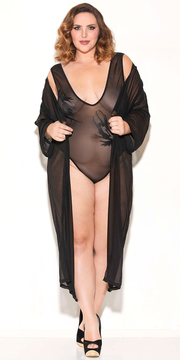 plus size black three-quarter sleeve see-through robe sexy women's loungewear
