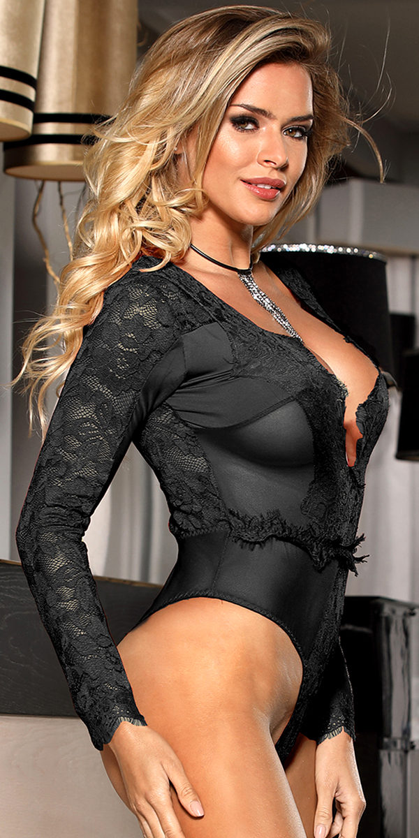 deep-v long sleeve teddy sexy women's lingerie