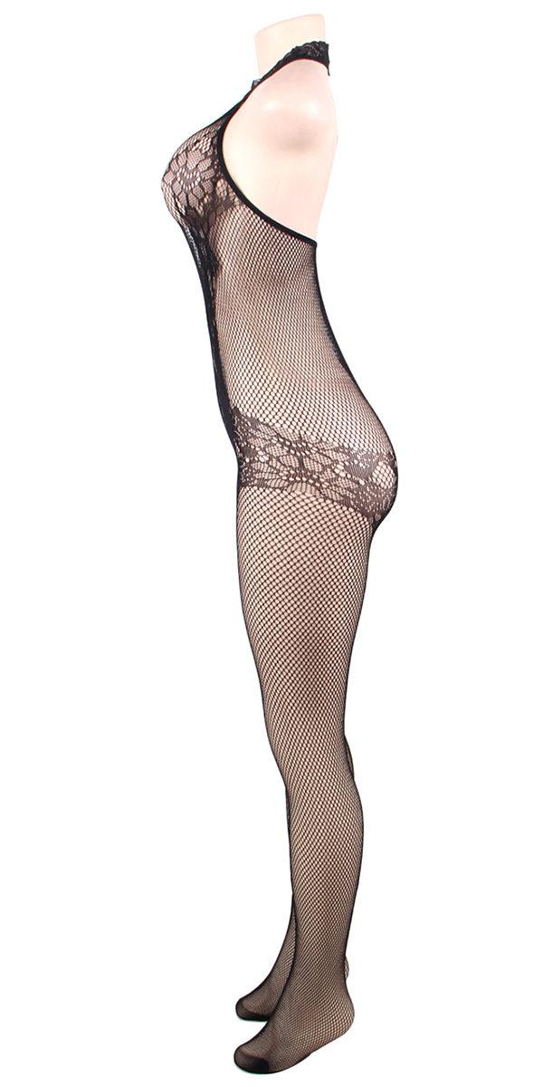black lace and fishnet turtleneck bodystocking sexy women's hosiery