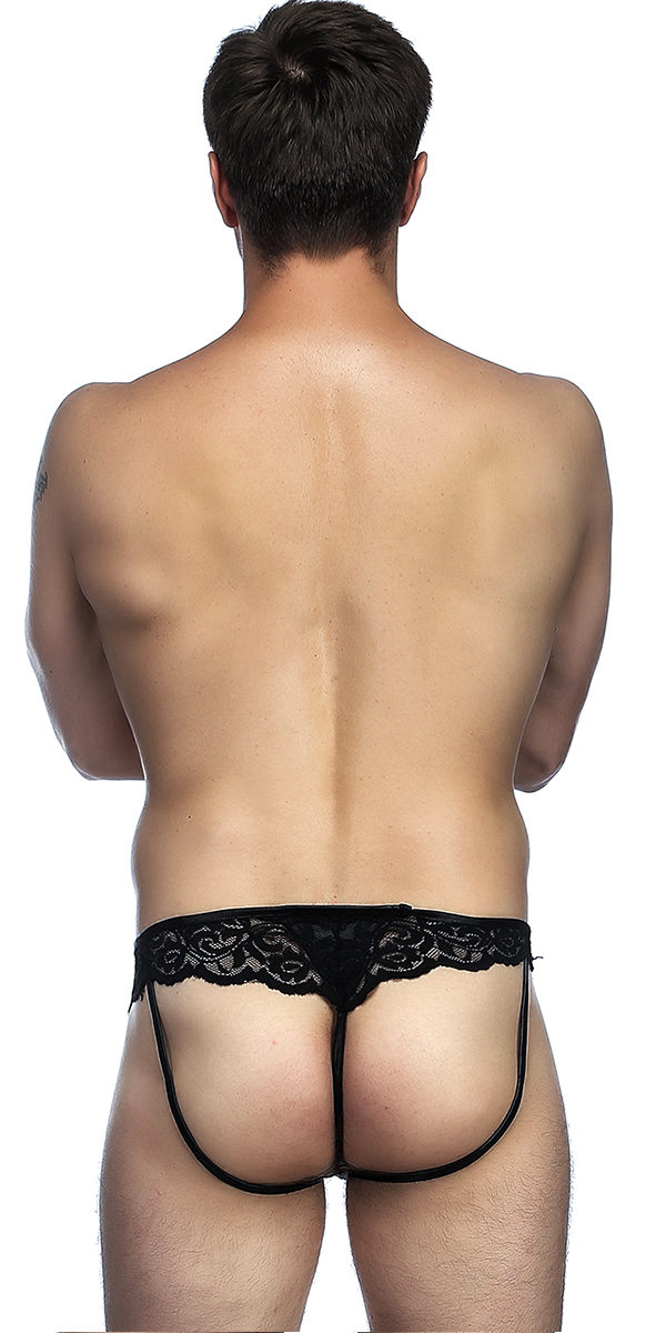 black lace and leather panties sexy men's underwear
