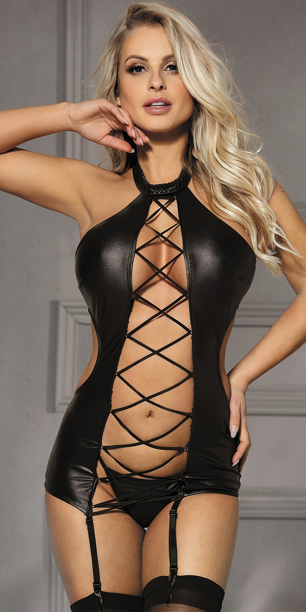 black leather teddy with g-string sexy women's lingerie