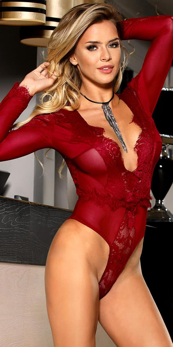 deep-v long sleeve teddy sexy women's lingerie