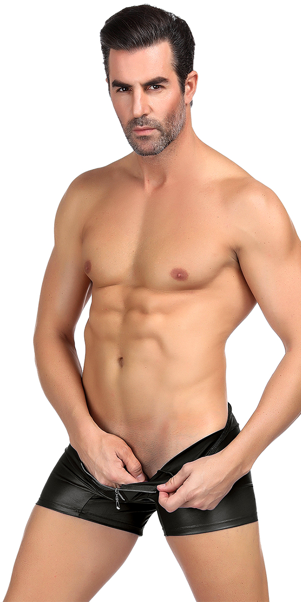 leather trunks with zipper sexy men's underwear