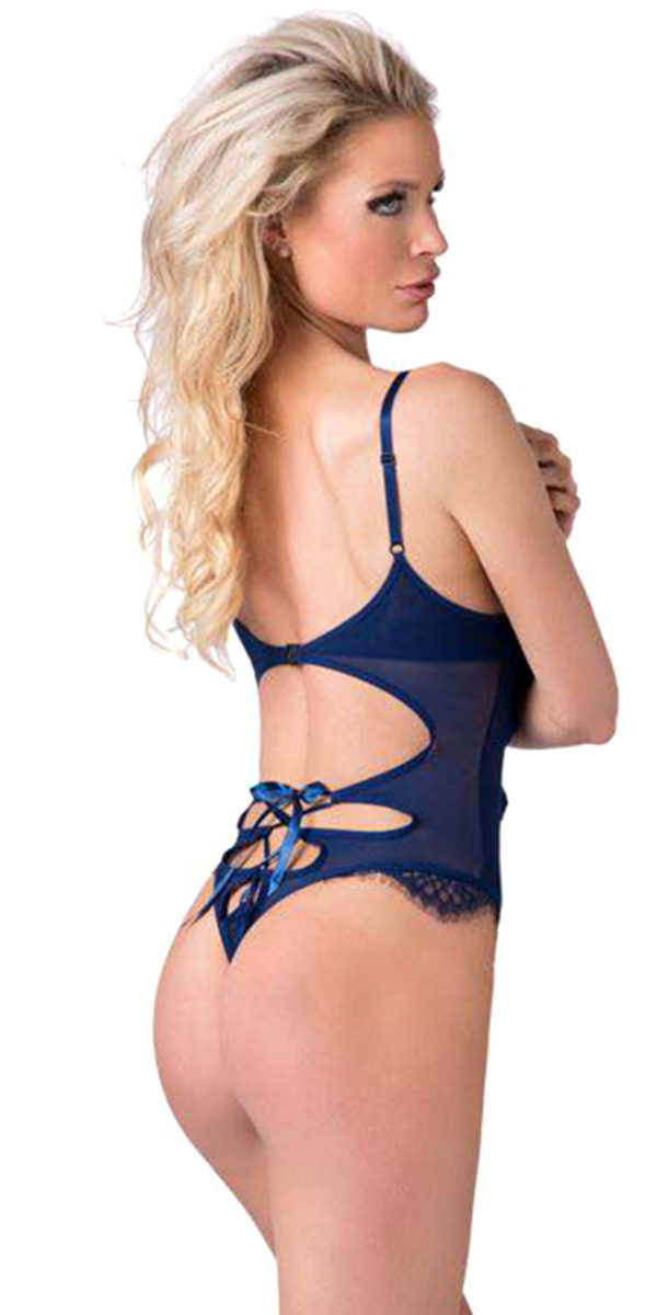 navy mesh lace embroidered teddy sexy women's lingerie