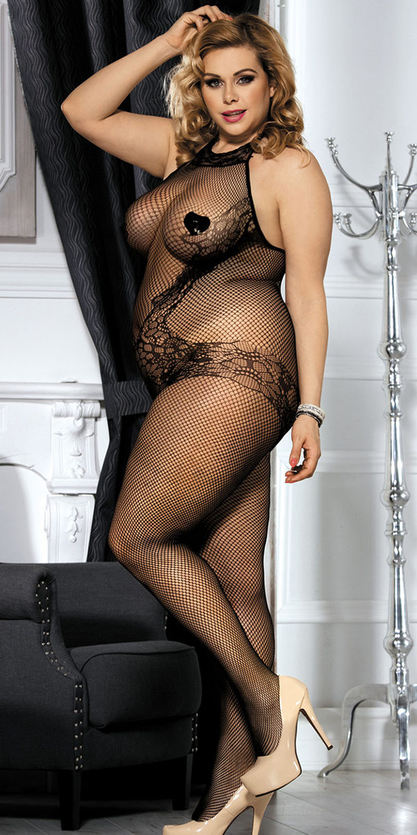 plus size black lace and fishnet turtleneck bodystocking sexy women's hosiery curvy