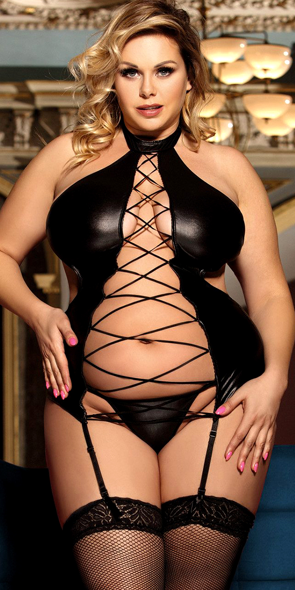 plus size black leather teddy with g-string sexy women's lingerie curvy