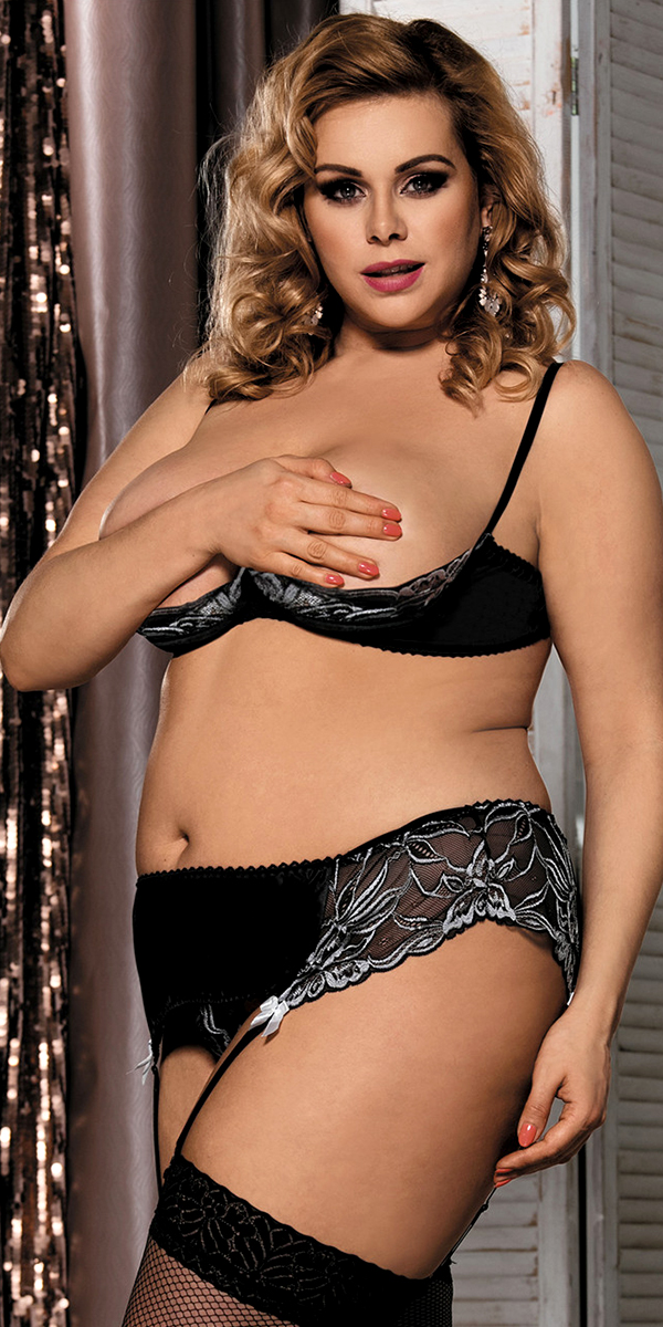 plus size black topless bra garter panty set sexy women's intimates curvy