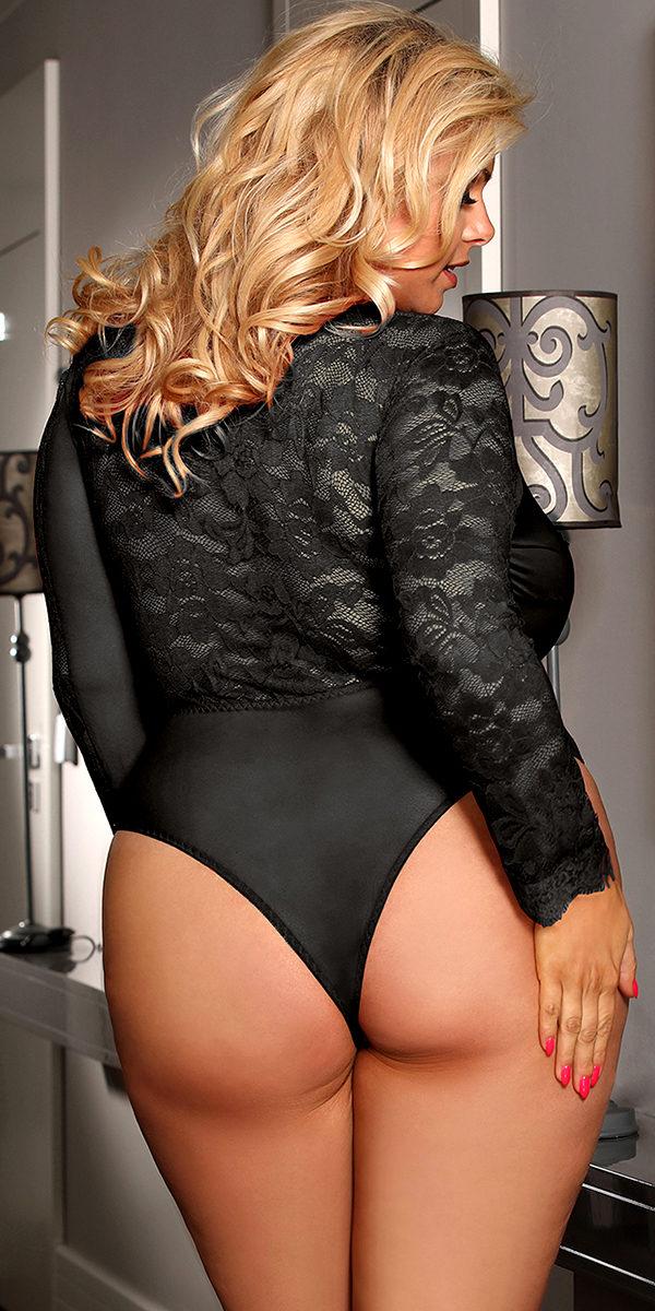 plus size deep-v long sleeve teddy sexy women's lingerie curvy