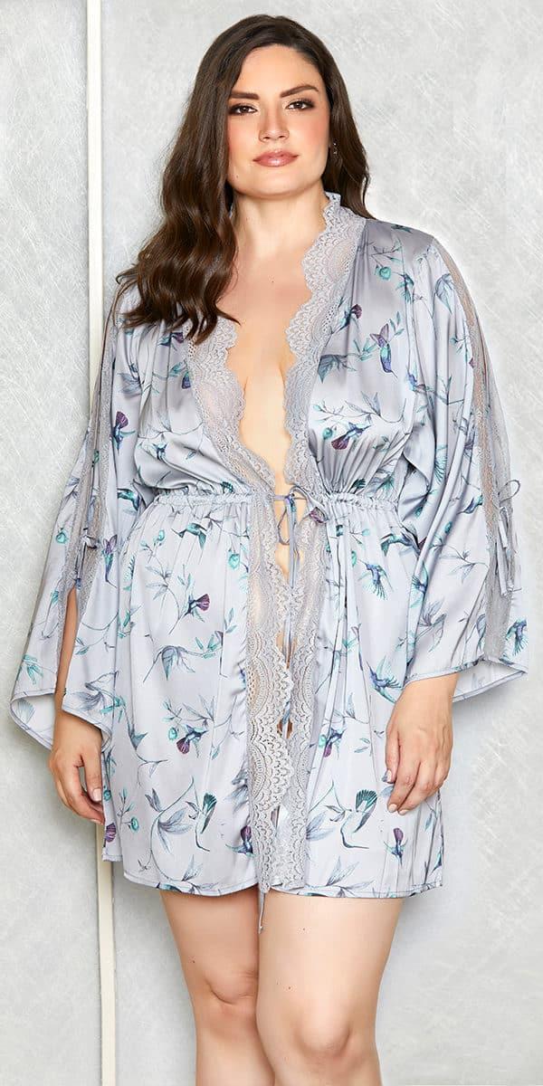plus size satin floral print short robe sexy women's loungewear