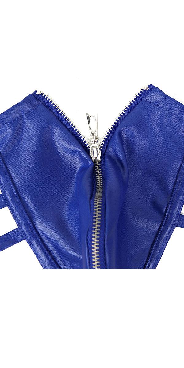 synthetic leather zipper panties sexy men's underwear