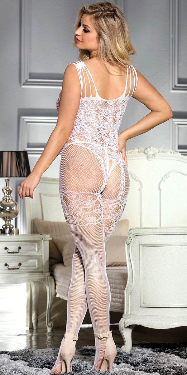 floral motif mesh bodystocking sexy women's hosiery bodysuit