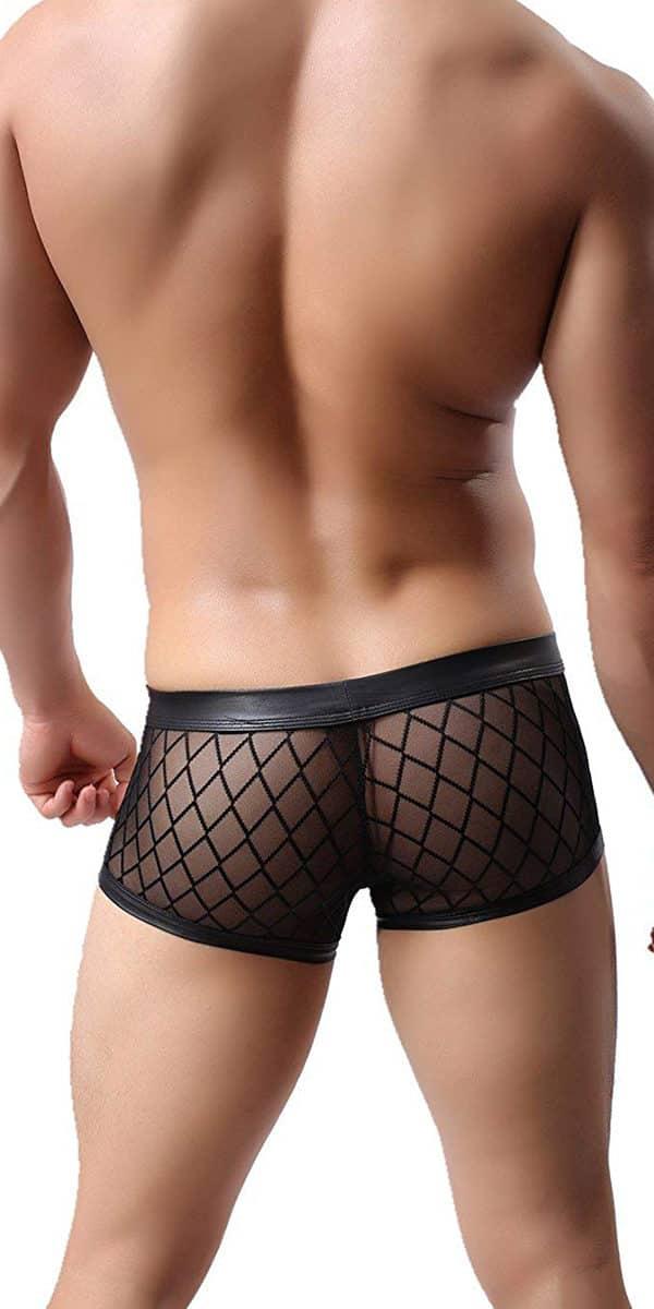 black mesh see-through trunks sexy men's underwear