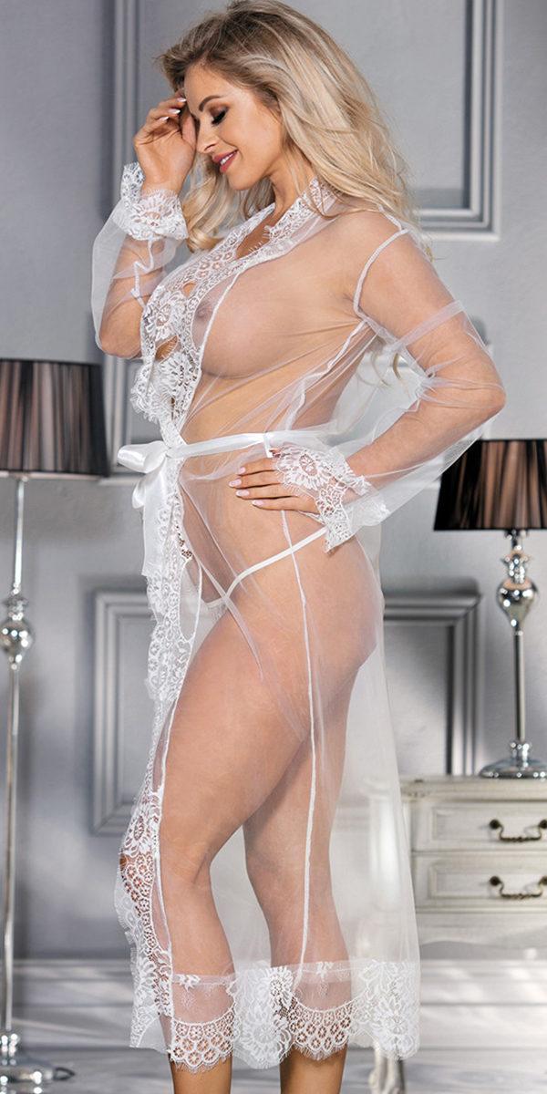 long lace kimono gown sexy women's loungewear
