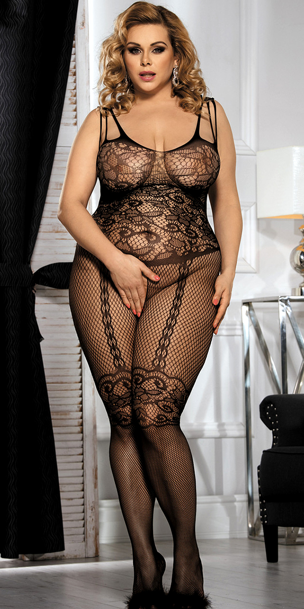 plus size black floral motif mesh bodystocking sexy women's hosiery bodysuit