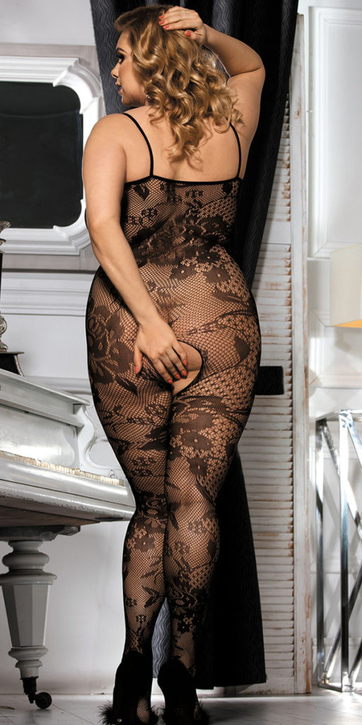 Floral Lace And Fishnet Crotchless Bodystocking Plus Size Txxx Com 1